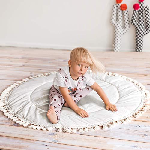 Boho Teepee - Alfombra de juego para bebé con decoración de borlas, alfombra ancha para gimnasio para bebé, 100% algodón y relleno hipoalergénico - Hecho a mano.