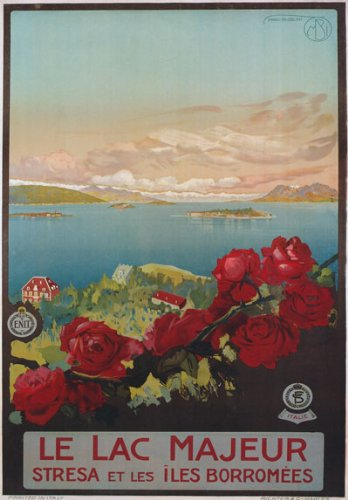 """TV13 Vintage 1920's Italian Italy Le Lac Majeur Lake Maggiore Travel Poster Re-Print - A1 (841 x 610mm) 33"""" x 24"""""""