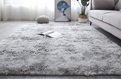 Alfombra de felpa mullida, de gran tamaño, suave degradado, de pelo teñido anudado, cómoda, para niños, sala de estar, dormitorio, plateado, 160 x 230 cm