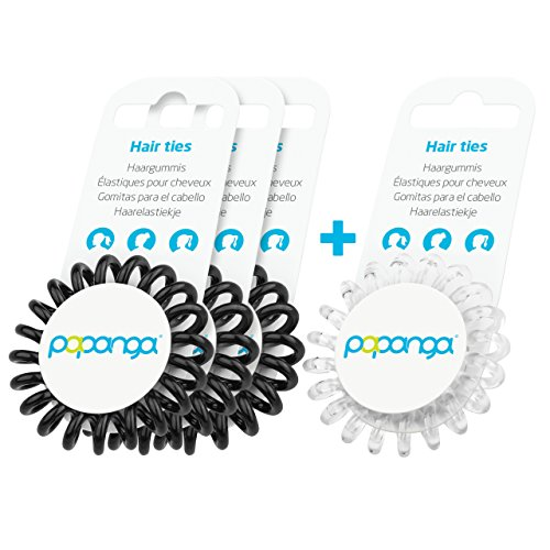 Original Papanga® Spiral Haargummi, 3+1 Vorteils-Pack, Classic Edition, Größe: Small, Farben: 3 x Black + 1 x Diamond