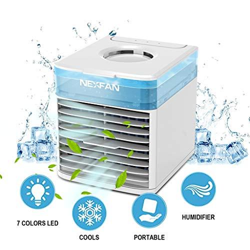 99native USB Air Cooler, NexFan Mini Mobile Klimaanlage Luftkühler, Luftbefeuchter und Luftreiniger, Tragbare Klimaanlage Luftkühler für Zuhause, drinnen, Küche, im Freien (White)