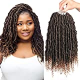14 Inch Pre-looped Bomb Twist Crochet Hair 7 Pack Spring Twist Crochet Curly Braids, Pre-twisted Light Weight Braids, Extensions Low Temperature Fiber Hair for Women use(1B-27) by Dula A