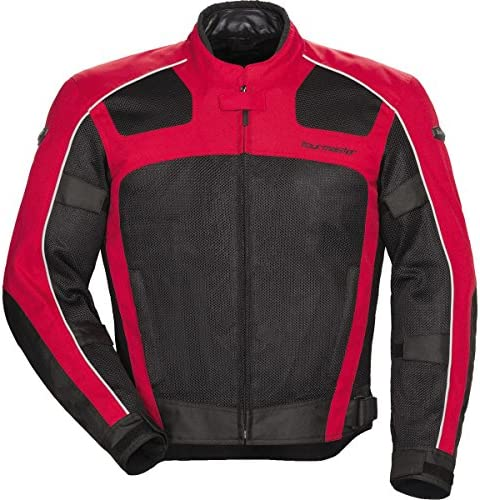 Tourmaster Mens Elite 3 Rain Motorcycle Jacket Large Black//Red Vented Waterproof Riding Jacket with Heavy-Duty Nylon Shell