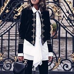 Women Plus Size Coats, Women Ladies Fashion Retro Steampunk Gothic Military Coat Jacket Top Cardigan, forJacket Womens Winter Sale (Black-M) #3