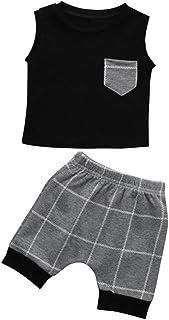 Fossen Bebe Ropa, de Dos Piezas Verano Recien Nacido Niño Camisa y Cuadros Pantalones Cortos