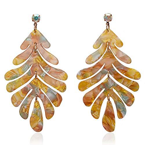 Pendientes largos de acrílico con diseño de hojas de árbol bohemio, para mujer, de moda, colorido, de acetato, para niñas, Boho Simple Earings ZA 2020