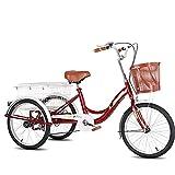 Cargo Trike Triciclo para adultos de 20 pulgadas con estructura de acero de alto carbono Bicicletas de 3 ruedas para adultos con cesta grande Bicicleta de crucero de tres ruedas para personas mayores