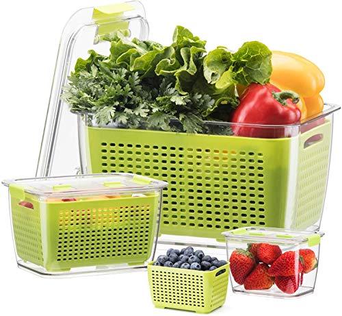 Luxear Frischhaltedosen Obst Gemüse mit Deckel, Vorratsdosen 3er Set 0.5L+1.7L+4.5L BPA frei, Frischhalteboxen dicht und trennbar, Kühlschrankdosen zum Aufbewahren oder Mitnehmen, grün