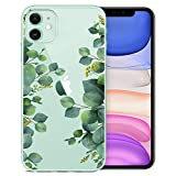 RicHyun Clear iPhone 11 Case with Floral Design, Eucalyptus Green Leaves Pattern Plastic Hard Back Case with Soft TPU Bumper Protective Case for Women Girls 6.1 Inch 2019