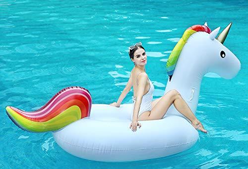 Global Tronics Aufblasbare Einhorn Riese 255cm,Whirlpool Pool Spielzeuge Schwimmen Sommer Sofa Flamingo Strand Schwimmring Party Floß Floatie Liege Umweltfreundlich Schwebebett