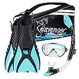 Seavenger Voyager Snorkeling Set | Travel Fins, Snorkel, Mask and Gear Bag for Men and Women (Sky Blue, Medium)