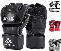 Brace Master MMA Gloves Guantes UFC Guantes de Boxeo para Hombres Mujeres Cuero Más Acolchado Saco de Boxeo sin Dedos Guantes para Kickboxing, Sparring, Muay Thai y Heavy Bag (Negro M)