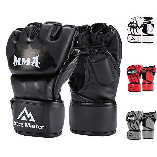 Brace Master MMA Handschuhe UFC Handschuhe Leather Padding für Männer, Frauen, Knöchelgelenkschutz, Fingerlose Sparring-Handschuhe für das Training, Kickboxen, Muay Thai, Boxen (Schwarz S)