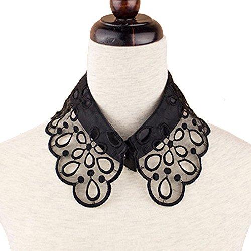 Beetest Mujeres Estilo Vintage Flores Hueco patrón Falso Medio Cuello de Blusa Camiseta Camisa Desmontable con Bordado Artesanal Blanco