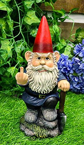 """Ebros Rude Garden Greeter Go Away! Gnome Dwarf Flip The Bird Statue Patio Outdoor Poolside Garden Figurine As Whimsical Decor Magical Fantasy Gnomes (9"""" You Dig? Shovel Gnome)"""