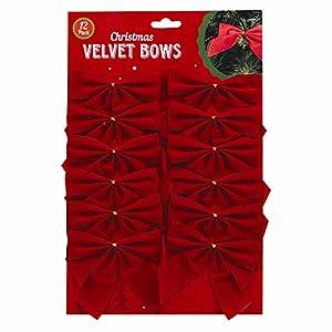 12 Red Christmas Velvet Bows for Decoration