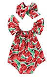 Kashoer Newborn Baby Girls Watermelons Printed Ruffle Bodysuit with Headband (12-18M, Watermelon)