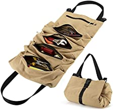 Tenn Well Tool Roll Up Bag with 5 Zipper Pockets, Multi-purpose Heavy Duty Canvas Tool Organizer Bag for Wrenches, Sockets, Screwdrivers and More (Khaki)