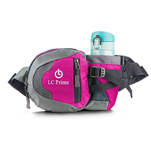 LC Prime Waist Pack Pack Bum Bag Hip Pack Running Bag Waist Bag Running Belt Sack Water Resistant with Bottle (Not Included) Holder for Hiking Camping Dog Walking nylon fabric Purplish-Red