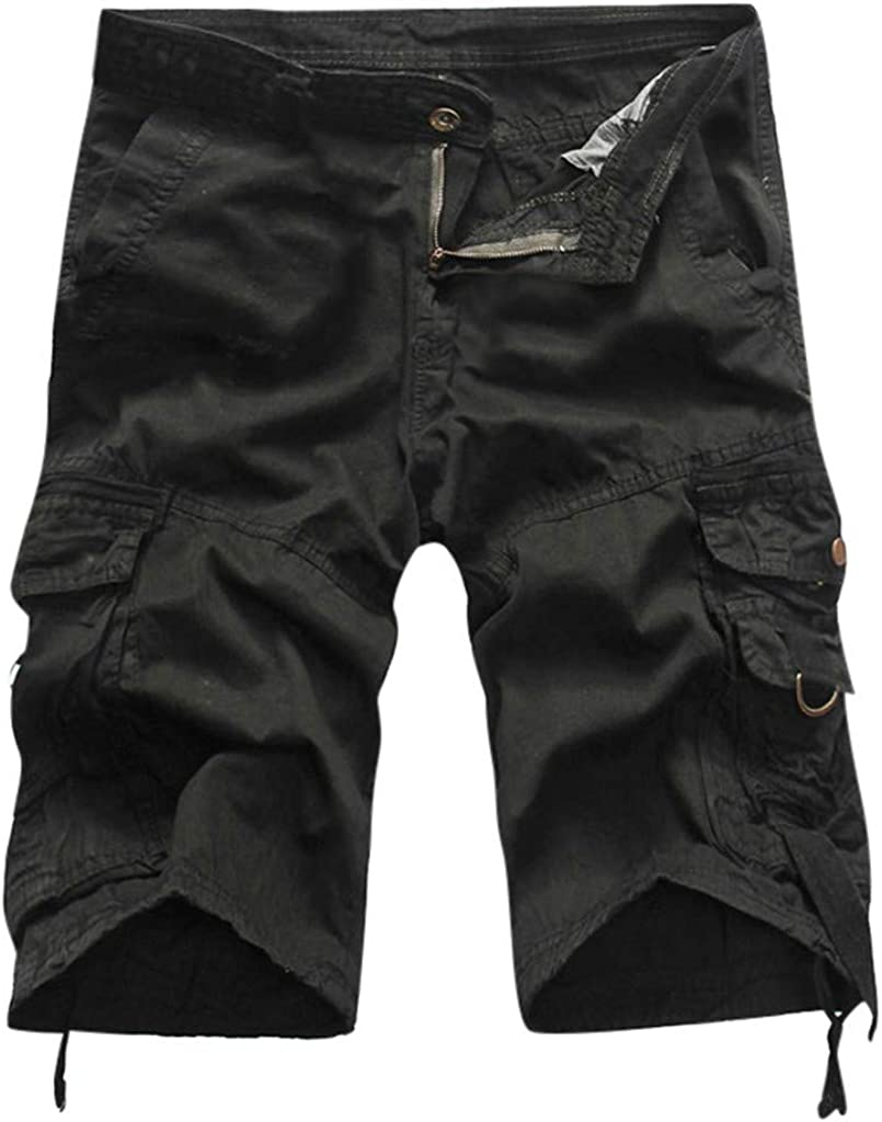 Mens Casual Cargo Shorts Relaxed Fit Elastic Waist Hiking Capri Cargo Shorts Big and Tall Pants Multi Pockets