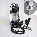 Powermat Profi Fkalienpumpe Tauchpumpe Schmutzwasserpumpe Typ Kraken 1800 DF 2' 1800Watt Spannung 230V/50Hz, Frdermenge: 21600l/h=360 l/min. mit Cutter/Zerkleinerer.