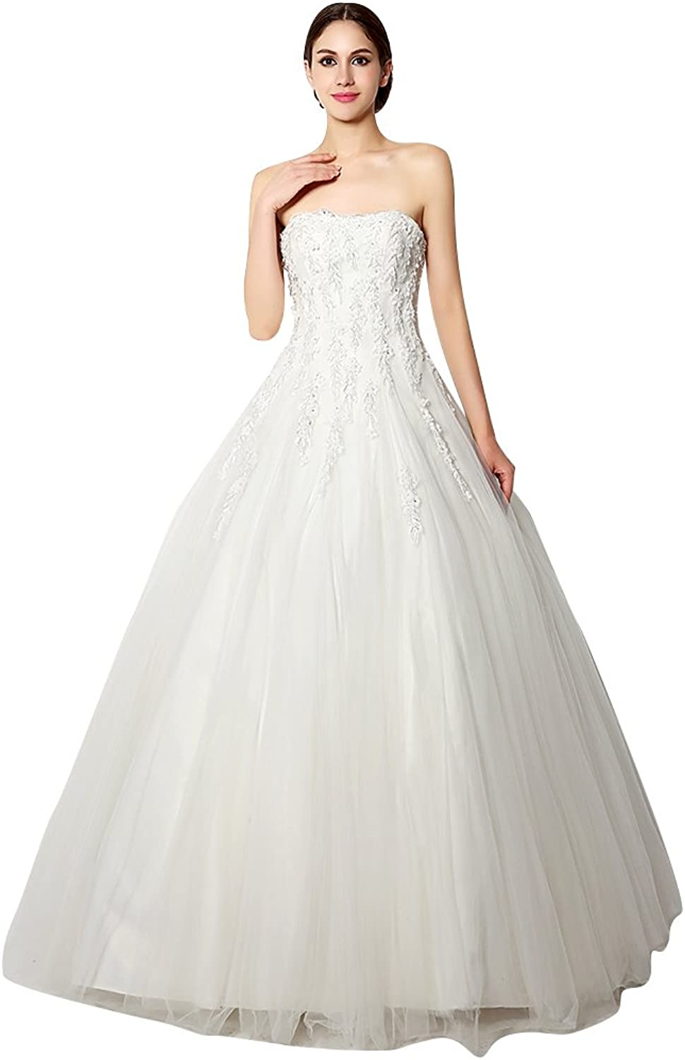 BeautyEmily Flower Lace Sweetheart Strapless Ball Wedding Dress
