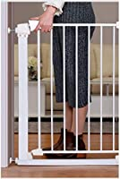ベビーゲート フェンス ドア付き 金属アジャスタブル赤ちゃんペットの安全ゲート階段ゲート自動近い圧力では、マウント拡張は、背の高い76センチメートル幅が173センチメートルに65から選択することができるスタンド (Color : White, Size : 87-93cm)