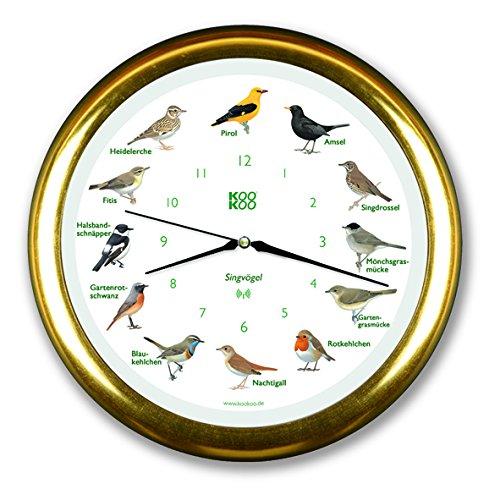 KOOKOO Singvögel gelbgold, Die Singende Vogeluhr, mit 12 heimischen Singvögeln und echten, natürlichen Vogelstimmen, mit RC Funkquarzwerk und Lichtsensor