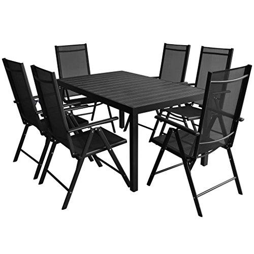 Lingjiushopping 7 pièces Ensemble de salle à manger extérieur Aluminium WPC Table de couleur : noir Matériau : polywood (WPC) Top + 100% aluminium, revêtement en poudre Cadre