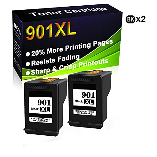 Paquete de 2 cartuchos de tinta remanufacturados de alto rendimiento para HP 901XL 901 XL para uso en impresoras Officejet 4500 J4500 J4524 J4540 J4550 J4580 J4624 J4640 J4660 J4680 J4680C