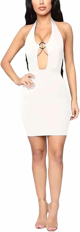 Women's Deep V Neck O-Ring Bodycon Halter Dress - Sexy Dresses for Club Night