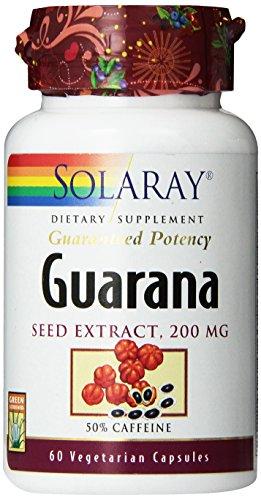 Solaray Guarana Seed Extract 300mg | 44 mg of Caffeine | Healthy Energy, Focus, Memory & Metabolism Support | 60 VegCaps