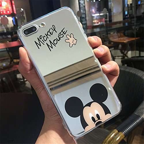 Art Design Funda Compatible iPhone 7 / iPhone 8 Minnie Mickey Mouse Efecto Espejo Carcasa de Moviles Fundas Carcasas Caso Silicón