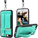 TOOVREN Upgraded iPhone 7 Plus Case, iPhone 8 Plus Wallet Case, Necklace Lanyard Case with Kickstand Card Holder, Ajust Detachable Anti-Lost Lanyard Strap Perfect for Travel, Daily use, Work Aqua