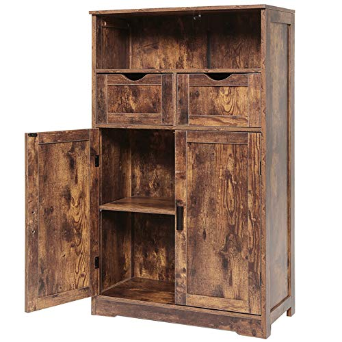 """IWELL Large Storage Cabinet with 2 Adjustable Drawers & 2 Shelf, 42.5""""H x 23.6""""L x 11.8""""W, Foor Bathroom Cabinet, Sideboard, Cupboard with Double Door, for Living Room, Home Office, Rustic Brown"""