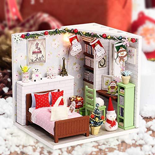 perfecthome Puppenhaus-Miniatur-Kit, Echtholz-Puppenhaus, Puppenhaus mit Möbeln, DIY-Puppenhaus-Kit für Kinder