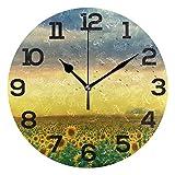 Reloj de Pared Paisaje Girasoles Campo Cielo Nubes Pájaro Reloj Redondo de acrílico Números Negros Reloj silencioso sin tictac