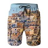 Grèce Village Hommes/garçons Casual Bain à séchage Rapide Costumes Pantalon de Plage Taille élastique avec Poches,XXL
