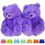 Teddy Bear Slippers, Plush Animal Slippers Winter Warm Shoes (Light purple)