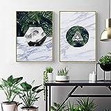 QLWLKJ Canvastavla Målning Geometrisk växt Grön Tropisk Leaf Poster Wall Art Marmor Textur Bild Vardagsrum Heminredning-50x70cmx2 Ingen ram