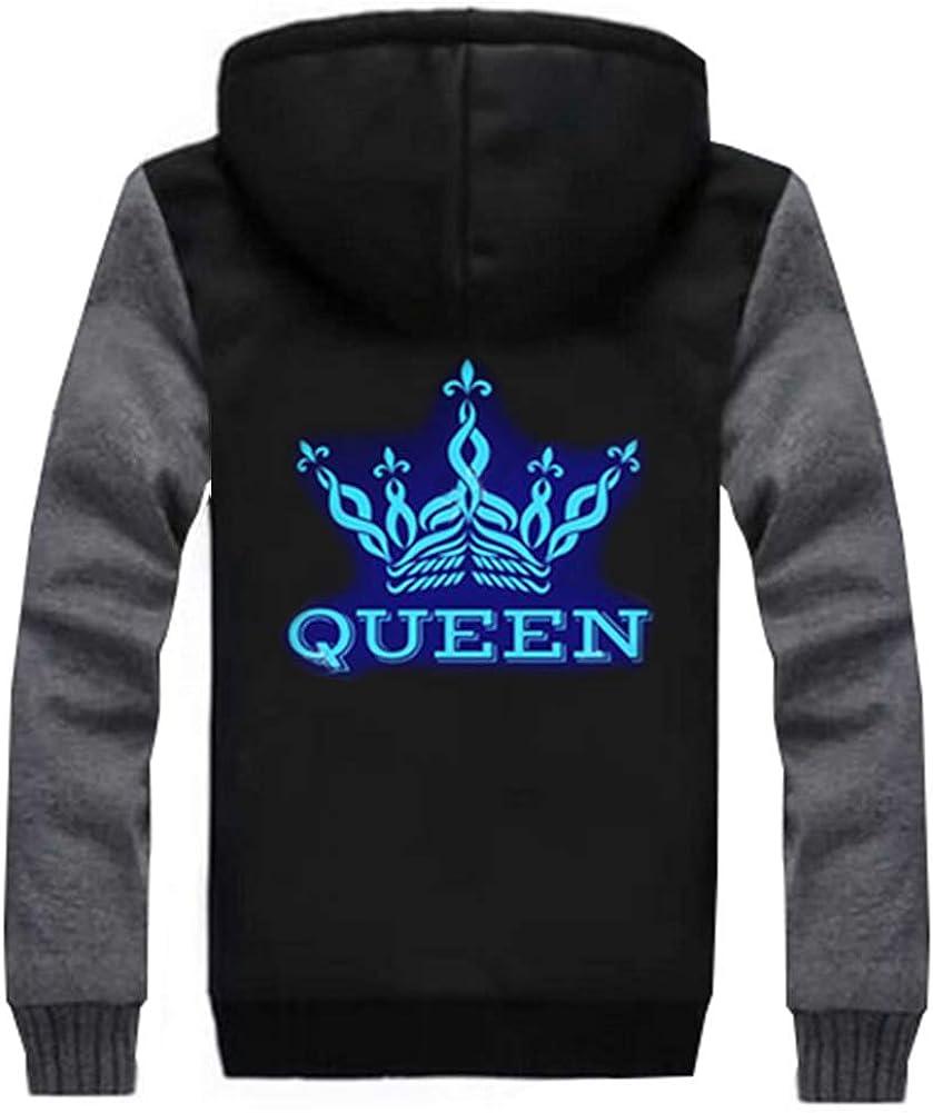 SCOFEEL Luminous King Queen Couple Hoodies Thicken Fleece Zip up Sweatshirt Jacket with Hood,1 Pcs