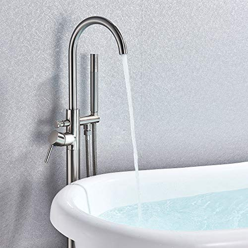 Votamuta Modern Brushed Nickel Free Standing Bathtub Shower Mixer Taps Floor Mounted Tub Shower Faucets with Hand Sprayer Single Handle