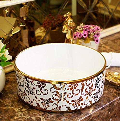 YYZD Lavabo de cerámica Jingdezhen lavabo redondo de cerámica, lavabo de encimera, lavabo, lavabo de baño, lavabo dorado, solo lavabo