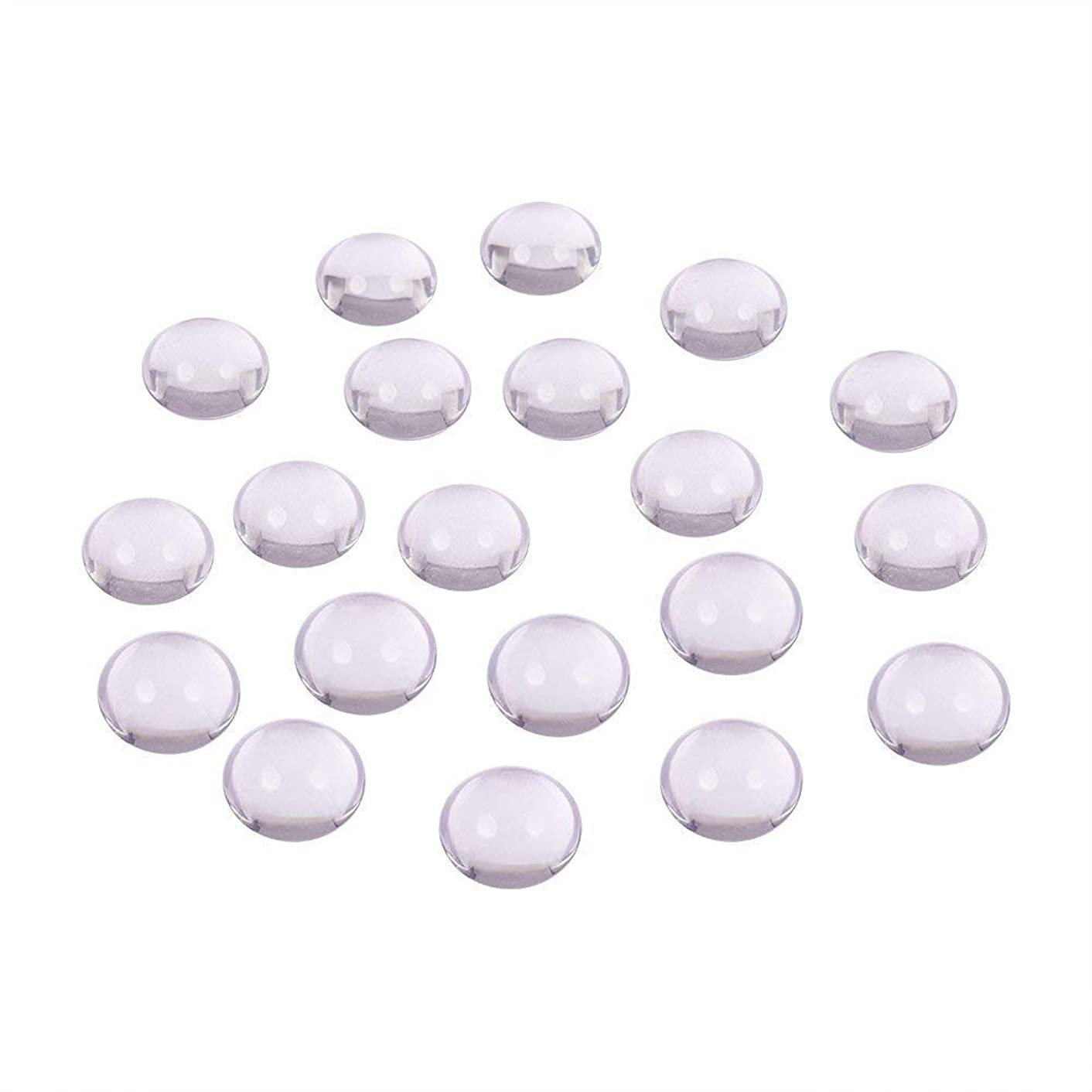 Cabochons PH Pandahall 50pcs 12mm Half Round Flat Back Clear Glass Dome, for Photo Pendant Craft Jewelry Making
