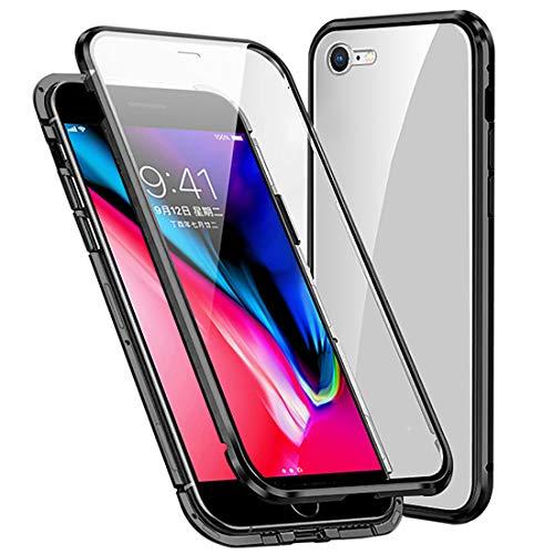 Funda Compatible iPhone 7/8/SE 2020, Carcasa Anti-Choques y Anti- Arañazos, Adsorción Magnética conchoques de Metal con 360 Grados Protección Case Cover Transparente Vidrio Templado Cubierta,N