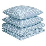 AmazonBasics - Juego de fundas de edredón y almohada de microfibra premium (240 x 220 cm / 65 x 65 cm), azul niebla chevrón