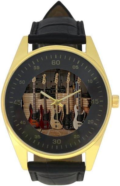 Men's Golden Alternative dealer Ranking TOP5 Leather Strap Guitar Watch Bass Pattern