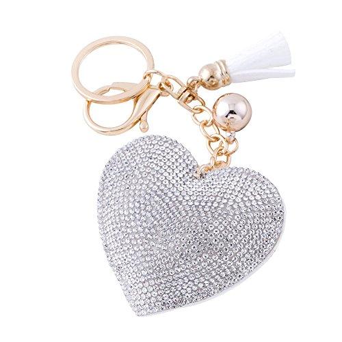 Soleebee Llavero de Cuero del Corazón del Amor Encanto de la Bolsa del Coche Cristalino con Borlas Cadena de Clave (Blanco)