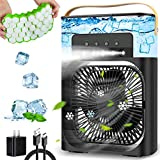 Portable Air Conditioner Fan, 2021 Upgraded Personal Air Cooler Desk Cooling Fan Evaporative Cooler with 900ml Water Tank, 7 Colors Night Light, 1/2/3 H Timer, 3 Wind Speeds and 3 Spray Modes for Bedroom, Office, Small Room