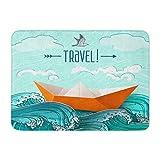 Alfombrilla de baño Tela de Franela Suave Absorbente Vela Azul Origami Barco en Las Olas del mar Barco Océano Acogedor Decorativo Alfombra de baño con Memoria Antideslizante